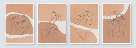 Abstract composition art with woman beauty face or body. Earth tones colors wall art decor. Soft color painting boho style background. Minimalistic background design. Vector illustration.