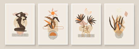 Abstract composition art with woman in leaves. Earth tones colors wall art decor. Soft color painting boho style background. Minimalistic background design. Vector illustration. Ilustración de vector
