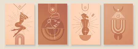 Abstract composition art with female silhouette in sunrise or sunset. Earth tones colors wall art decor. Soft color painting boho style background. Minimalistic background. Vector illustration.