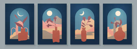 Modern Abstract Art Organic Illustration. Set of aesthetic bauhaus painting wall art for house decoration. Minimalistic canvas background design. Vector wall art shapes in boho style.