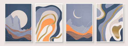 Abstract landscape composition art with sun and moon. Blue tones colors wall art. Soft color painting house decor. Minimalistic background design. Vector illustration. Illustration