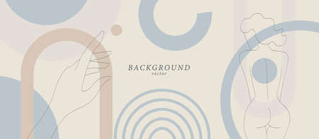 Abstract background art with botanical and woman body shapes on soft background. Organic colors horizontal banner. Boho style minimalistic background. Vector illustration.
