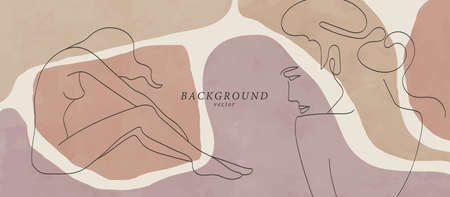 Abstract background art with woman beauty face or naked body. Earth tones colors wall art decor. Soft color painting boho style background. Minimalistic background design. Vector illustration.