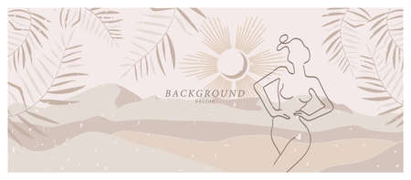 Abstract background art with nude woman in nature landscape. Background design in beige, ivory, champagne colors. Soft color painting decor. Minimalistic background design. Vector illustration. Illustration