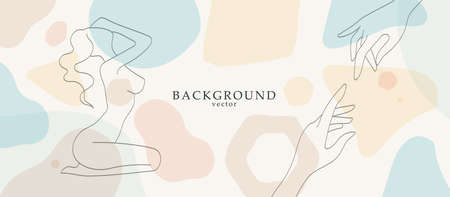 Abstract art with nude woman body in geometry shapes landscape background. Soft color painting decor background. Minimalistic background design. Vector illustration. Illustration