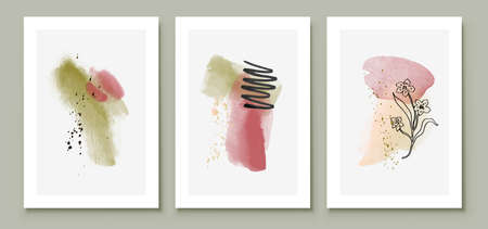 Green and Pink Abstract Watercolor Compositions. Set of soft color painting wall art for house decoration or invitations. Minimalistic background design. Vector wall art plants in minimalist style.