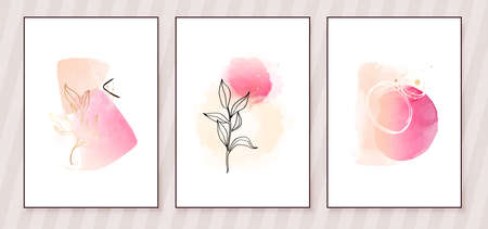 Pink and Peach Abstract Watercolor Compositions. Set of soft color painting wall art for house decoration or invitations. Minimalistic background design. Vector wall art plants in minimalist style. Illustration