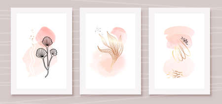 Orange and Peach Abstract Watercolor Compositions. Set of soft color painting wall art for house decoration or invitations. Minimalistic background design. Vector wall art plants in minimalist style.