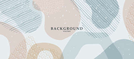Abstract background art with color shapes on background. Web or wall art decor. Boho style minimalistic background. Vector illustration.