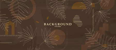 Abstract background art with botanical leaves on dark brown or chocolate background. Earthtone colors wall art decor. Boho style minimalistic background. Vector illustration. Illustration