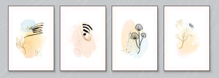 Teal and Peach Abstract Watercolor Compositions. Set of soft color painting wall art for house decoration or invitations. Minimalistic background design. Vector wall art plants in minimalist style. Illustration