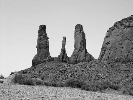 john wayne: Monument Valey, Utah Megalithic Towers in Black and White. Stock Photo