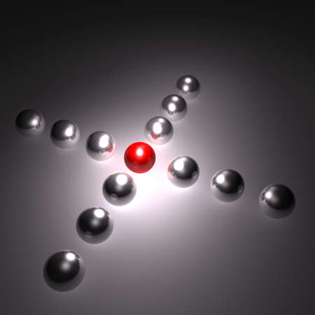 3D Spheres, Balls Formed In X. The Ball in the Middle is Red, the Other Ones are Silver, Metallic, Chrome photo