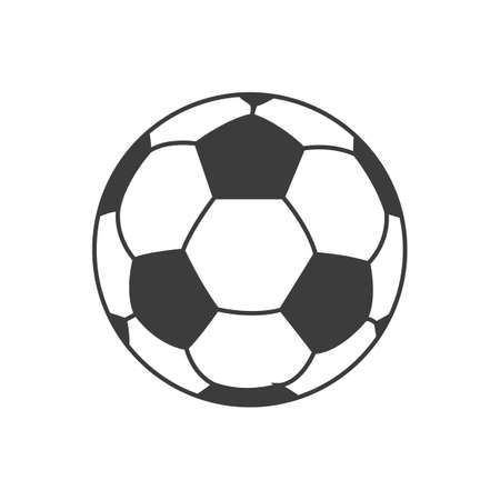 Ikona piłki nożnej. Piłka wektora samodzielnie na białym tle.
