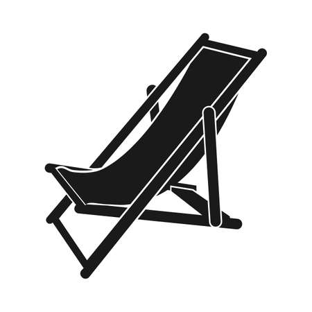 reclining: Beach chair icon Vector. Flat icon Beach chair. Flat vector illustration for web and mobile. Vector Beach chair icon graphic. Vector icon isolated on white background. Beach chair vector icon in black