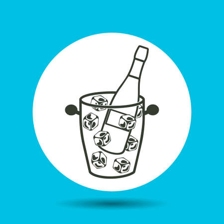 Bottle of alcohol in an ice bucket icon. Bottle of alcohol in an ice bucket vector isolated. Flat vector illustration in black.
