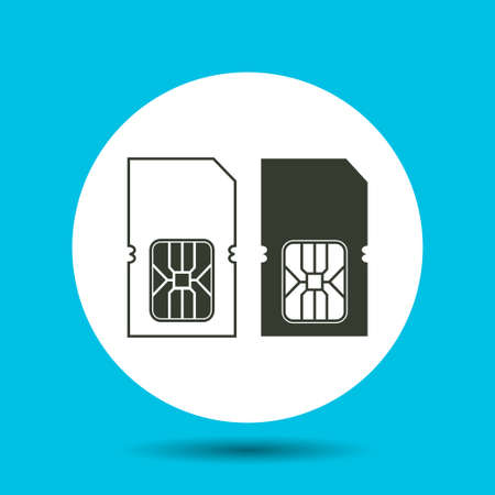 smart card: Sim card icon. Sim card vector isolated. Flat vector illustration in black.