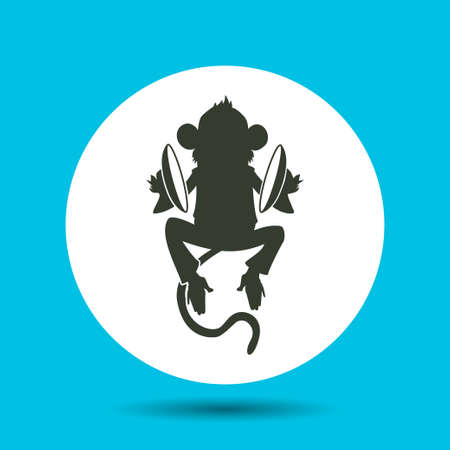 Monkey icon. Monkey vector isolated. Flat vector illustration in black. Illustration
