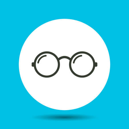 Round glasses icon. Round glasses vector isolated. Flat vector illustration in black. Illustration