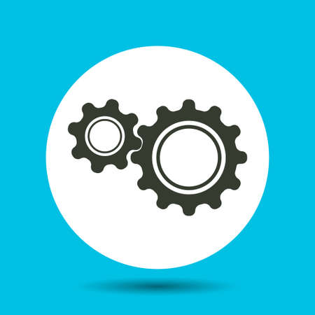 Gears icon. Gears vector isolated. Flat vector illustration in black.