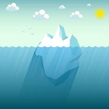 Big blue iceberg floating on water waves with underwater part vector illustration flat cartoon style. Sunny weather and blue sea.