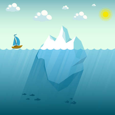 The ship is in danger. The vessel is near the big iceberg. Vector illustration with polygonal iceberg under and above water.Business or personal problem. Stock Illustratie