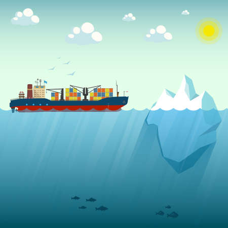 Container ship near the iceberg. Vector Illustration on the background of blue sky. Shows the upper and lower part of the sea. Over the water lit by the sun. At the depth of floating sea fish.
