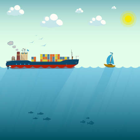 Vector illustration of ship and boat floating by sea. Business and leadership concept design element in flat style. Career achievements and personal growth Ilustrace