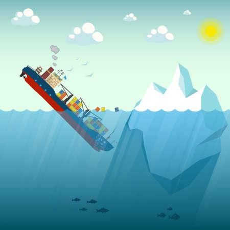Navire porte-conteneurs Iceberg naufrage. Le navire est allé sous l'eau à moitié nager autour des conteneurs. En arrière-plan ciel bleu, soleil et goélands. Illustration vectorielle. Vecteurs