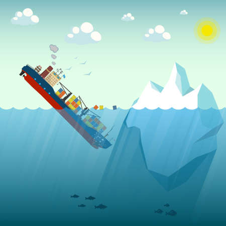 Shipwreck Iceberg container ship. The ship went under water half swimming around the containers. In the background blue sky, sun and gulls. Vector Illustration. Vettoriali