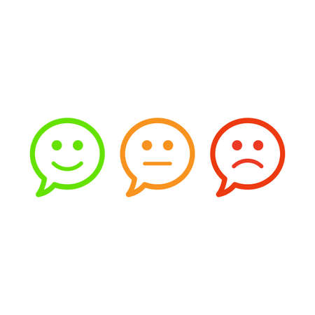 Tre emoticon colorate, imposta l'emozione di emoticon, con emoticon, emoticon di cartoni animati - Set di pulsanti di facce verdi, rosse e arancioni. Illustrazione vettoriale piatta