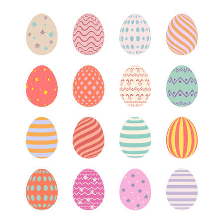 Happy Easter. Set of Easter eggs with different texture on a white background. Ilustrace