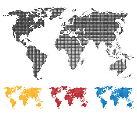 World map black yellow red blue color. Saddle or pixel structure. Globe icon. Flat vector illustration