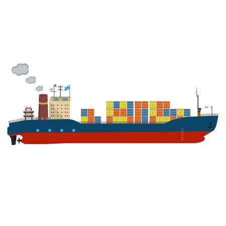 Container ship in export and import business and logistics. Shipping cargo to harbor by crane. Water transport International. Vector illustrated icon with solid and flat color style design. Ilustrace