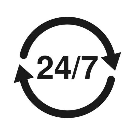 247 Service open 24h hours a day and 7 days a week. Flat isolated vector illustration in black on a white background.