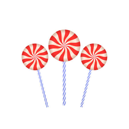 Lollipops on stick. Colorful caramel. Sweet round pink candy on stick 3d closeup. Flat vector illustration on a white background.