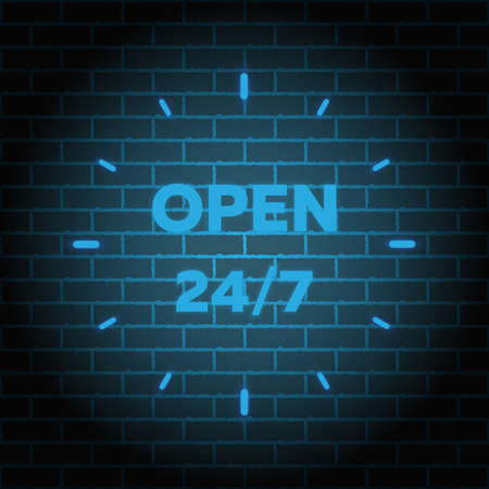 24 7 Service open 24h hours a day and 7 days a week. Flat isolated vector illustration in black on a white background. Illustration