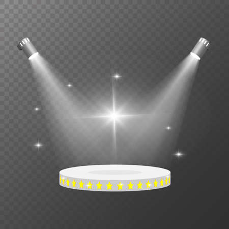 Spot lights vector. Pedestal illuminated by spotlights on a light background. Realistic scene illumination transparent effects. Two spotlights illuminate the round podium for the presentation Ilustrace