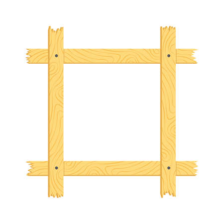 Wood frame Flat isolated vector illustration on a white background. Ilustrace