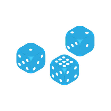 Dice vector icon on three dice casino gambling template concept. Flat isolated vector illustration, on a white background. Ilustrace