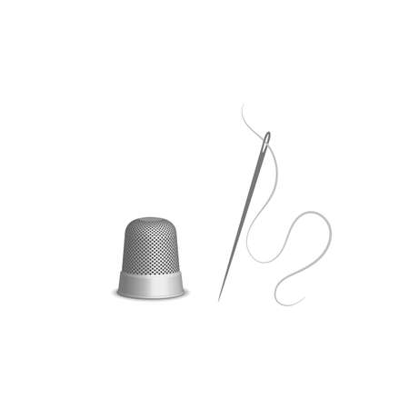 Thimble for sewing and a needle and thread, sketch illustration of accessories for sewing. Flat isolated vector illustration, on a white background.