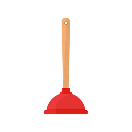 Toilet plunger icon as Sanitary tools for cleaning the sink and sewer pipes, housework supplies.