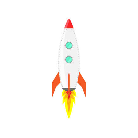 Rocket ship icon vector on Flat isolated vector illustration spaceship, on a white background.