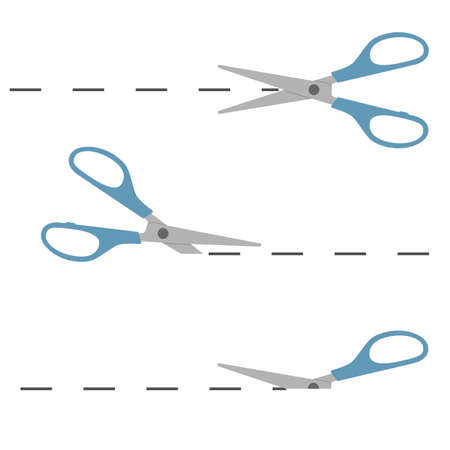 Scissors icon on Flat isolated vector illustration cutting scissors, on a white background. Ilustrace