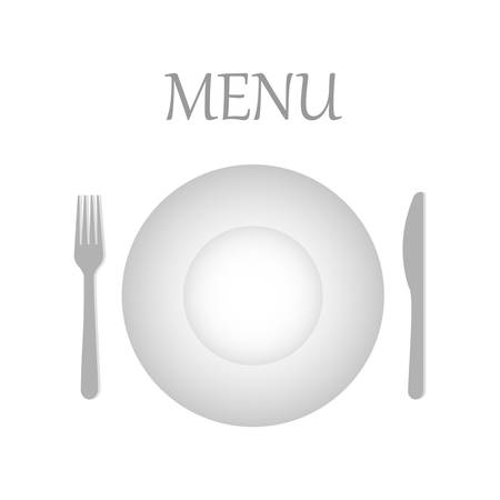 Restaurant icon logo, card for menu, with plate, knife and fork. Flat isolated vector illustration, on a white background.