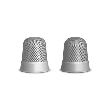 Thimble for sewing, sketch illustration of accessories for sewing. Flat isolated vector illustration, on a white background. Ilustrace