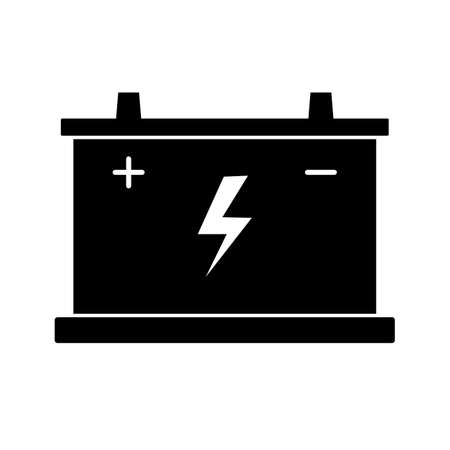 Car battery icon. Flat vector illustration on white background. Banco de Imagens - 142952662