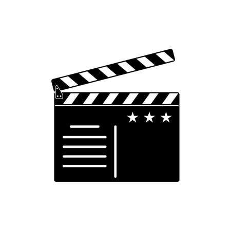 Movie clapper board icon. Flat vector illustration on white background.