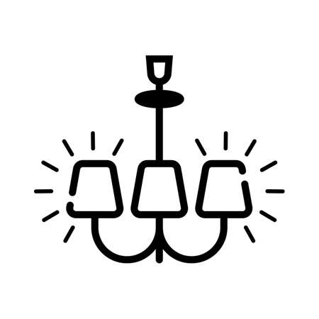 Lamp icon. Vector illustration chandelier in black color