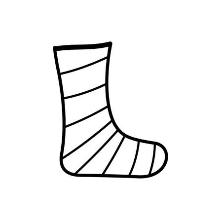 Repaired bandaged leg icon. Vector illustration of a fracture and leg injury for medical or health care design